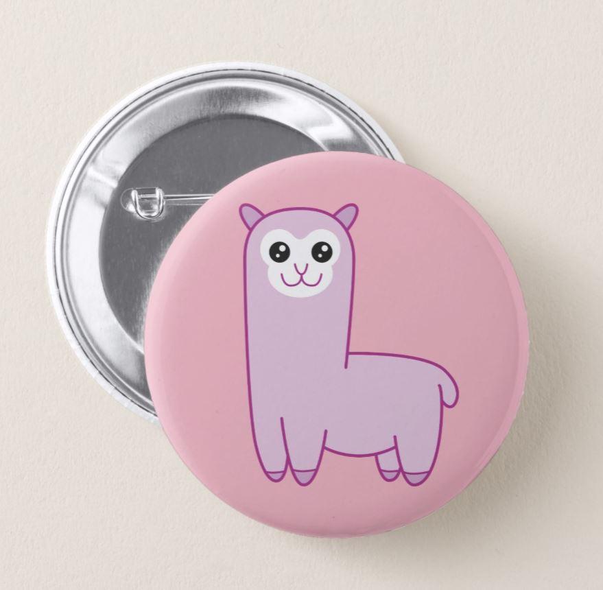 Roze Alpaca Cartoon Button