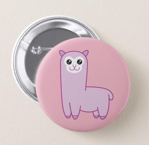 Roze Alpaca Cartoon Button